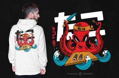 Diseño de camiseta de chef pulpo