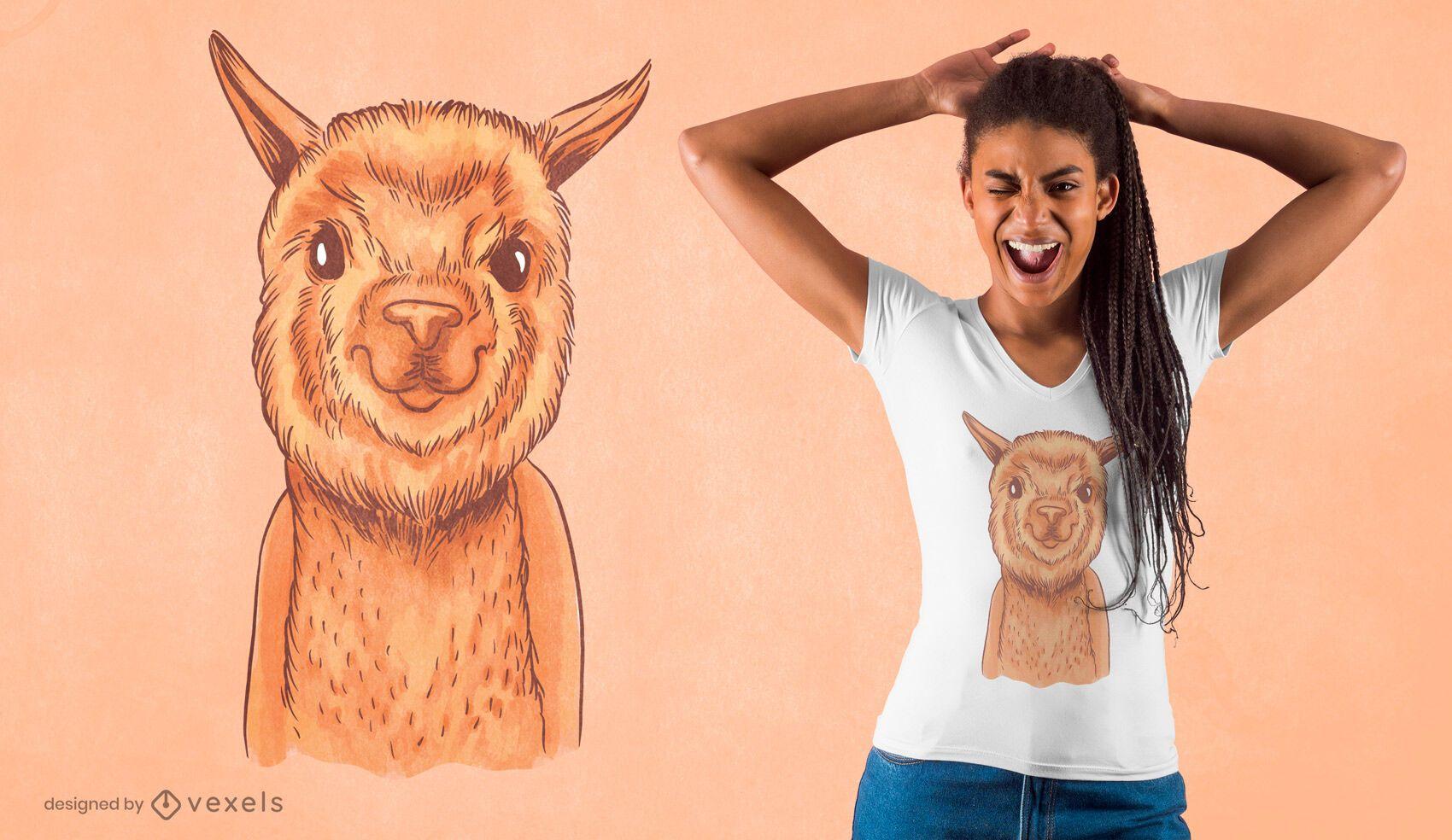 Diseño de camiseta de alpaca acuarela