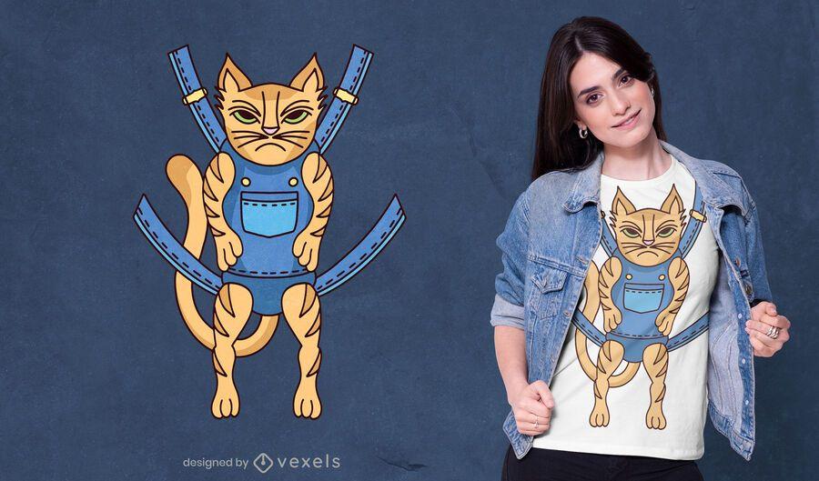 Diseño de camiseta de gato enojado