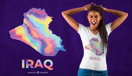 Diseño de camiseta de país de acuarela de Irak