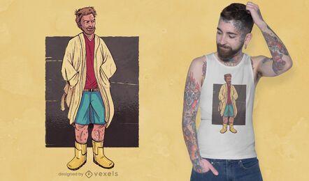 Hombre con diseño de camiseta de albornoz