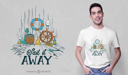 Diseño de camiseta de elementos náuticos.