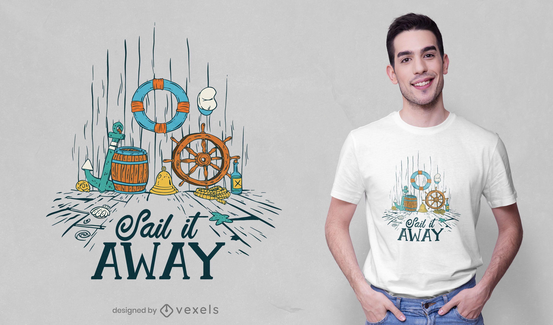 Nautical elements t-shirt design