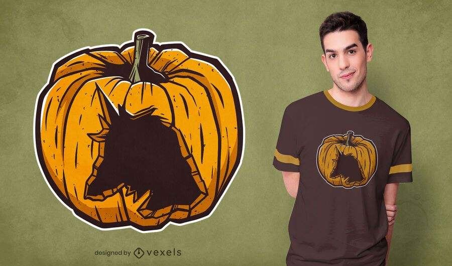 Carved unicorn pumpkin t-shirt design