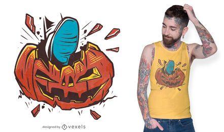 Diseño de camiseta de calabaza rota