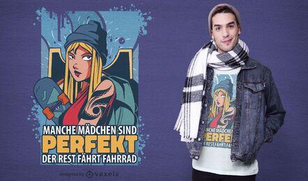 Diseño de camiseta de niña patinadora