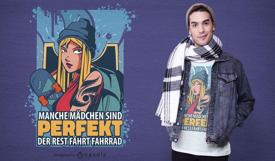 Skater girl t-shirt design