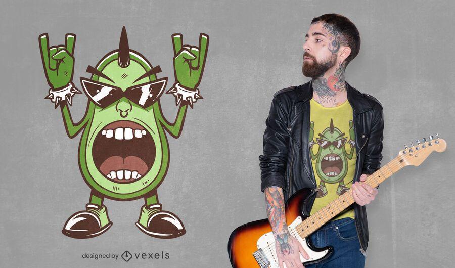 Metal avocado t-shirt design