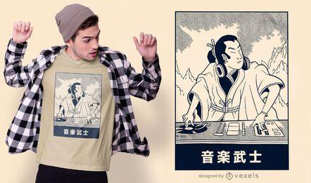 Diseño de camiseta samurai dj