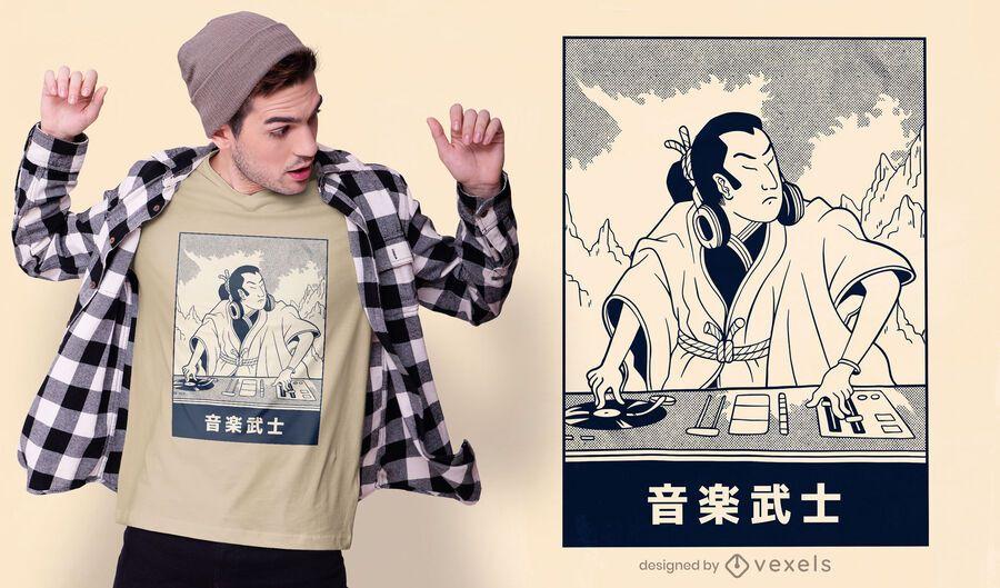 Design de camiseta Samurai DJ