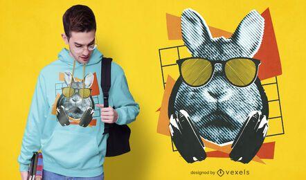 Diseño de camiseta de conejo fresco con gafas de sol