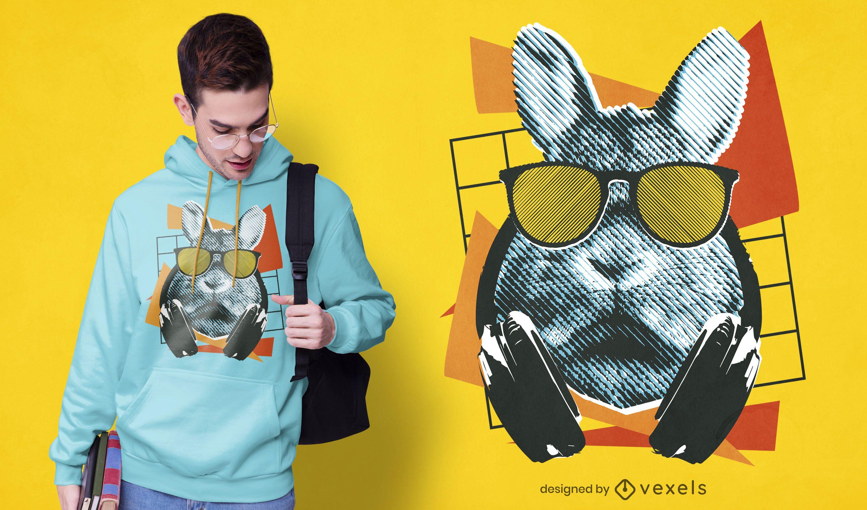 Dise?o de camiseta de conejo fresco con gafas de sol