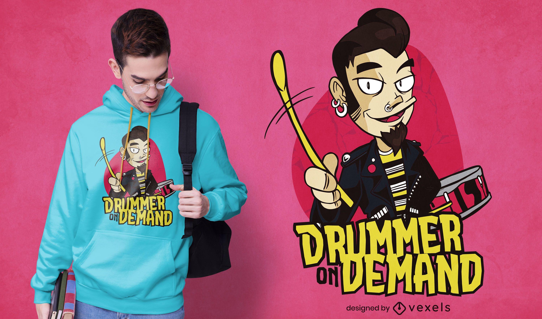 Design de camisetas sob demanda de baterista