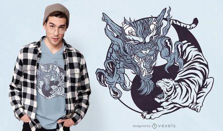 Diseño de camiseta de animales Yin yang.