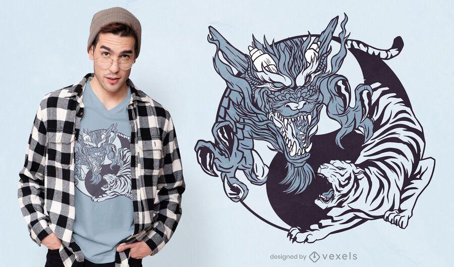 Yin yang animals t-shirt design