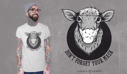 Diseño de camiseta de oveja con máscara facial.