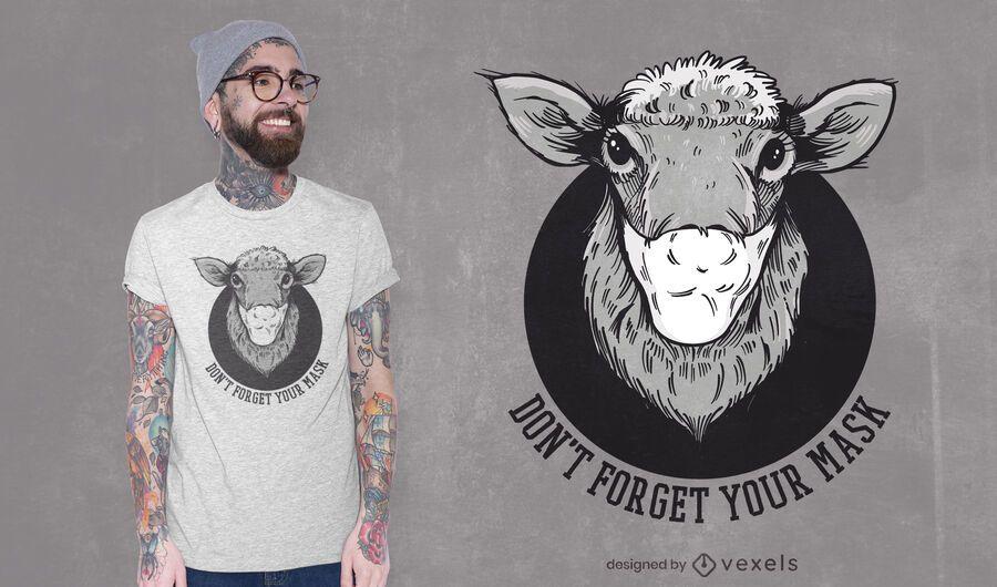 Design de t-shirt de ovelha máscara facial