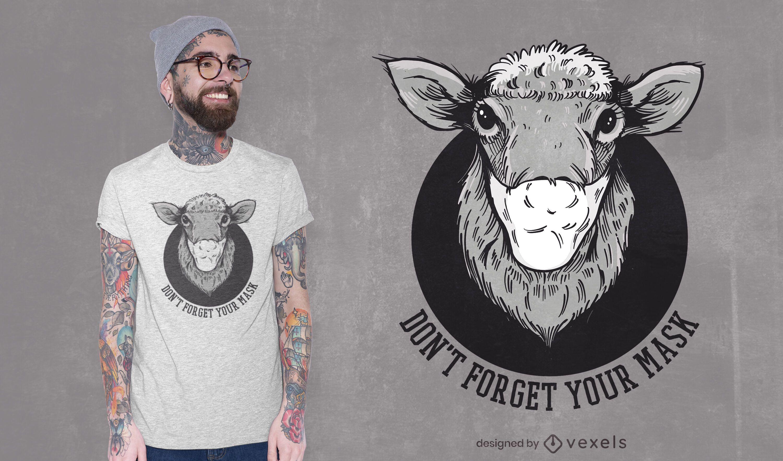 Dise?o de camiseta de oveja con m?scara facial.