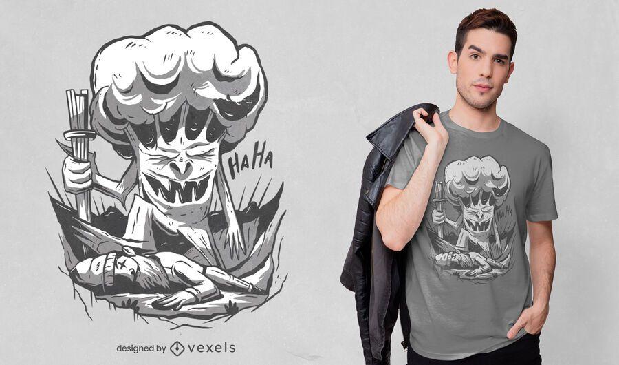 Diseño de camiseta de lucha de leñador de árbol.