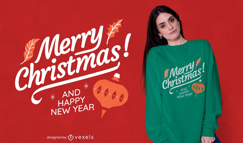 Merry christmas lettering t-shirt design