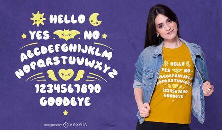 Lindo diseño de camiseta de tablero ouija