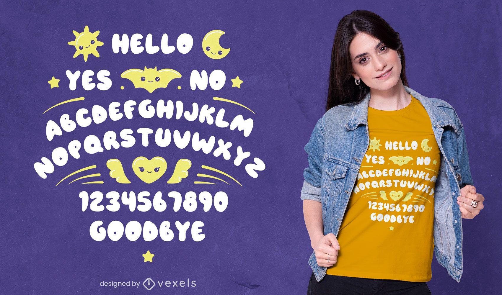 Cute ouija board t-shirt design