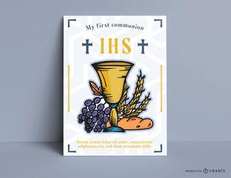 Design de cartão de primeira comunhão