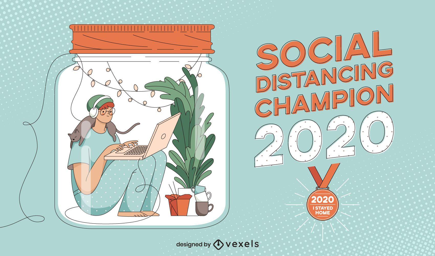 Diseño de ilustración de campeón de distanciamiento social