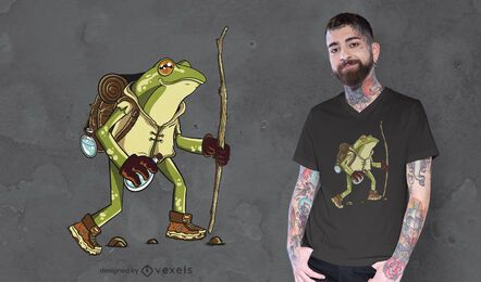 Hiking frog t-shirt design