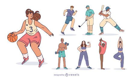 Sports character design set