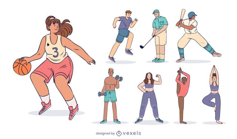 Conjunto de diseño de personajes deportivos
