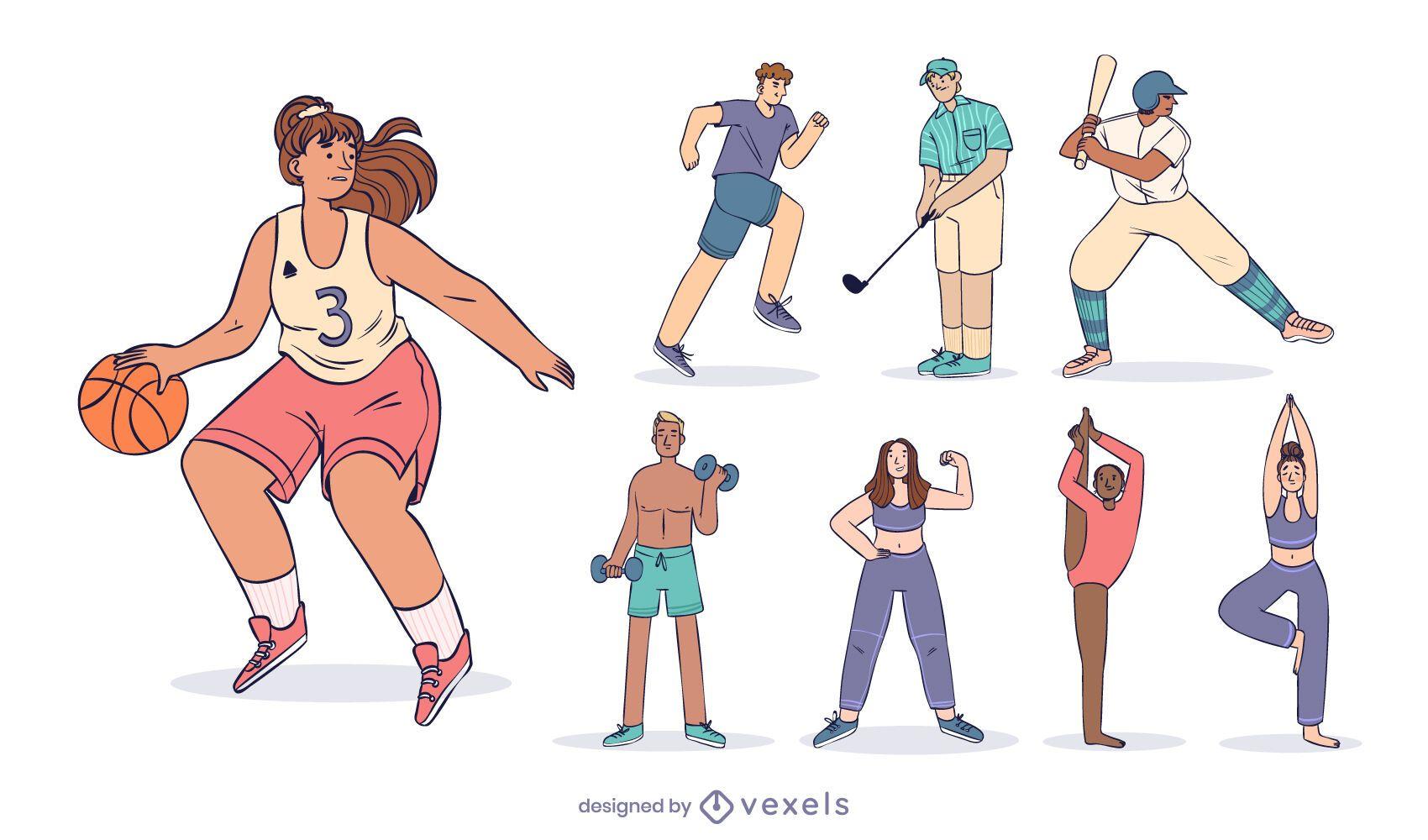 Sports character design set