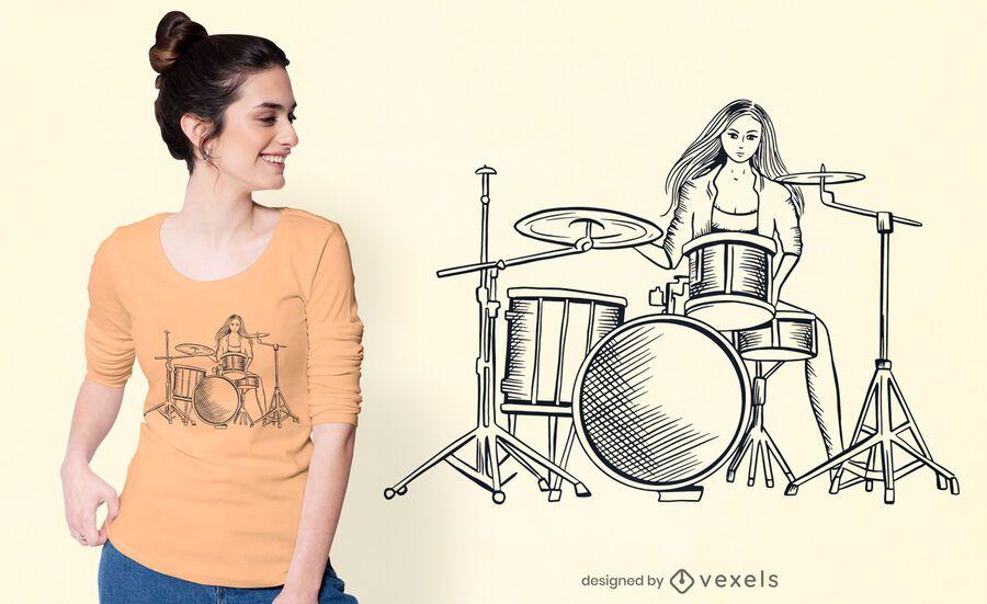 Diseño de camiseta de niña baterista