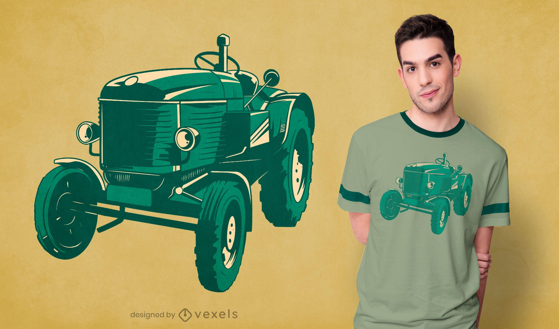 Diseño de camiseta de tractor clásico.