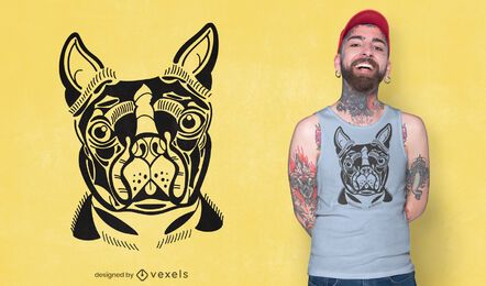 Diseño de camiseta Boston Terrier