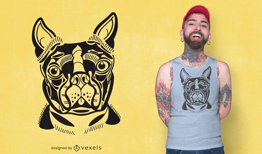 Diseño de camiseta Boston Terrier