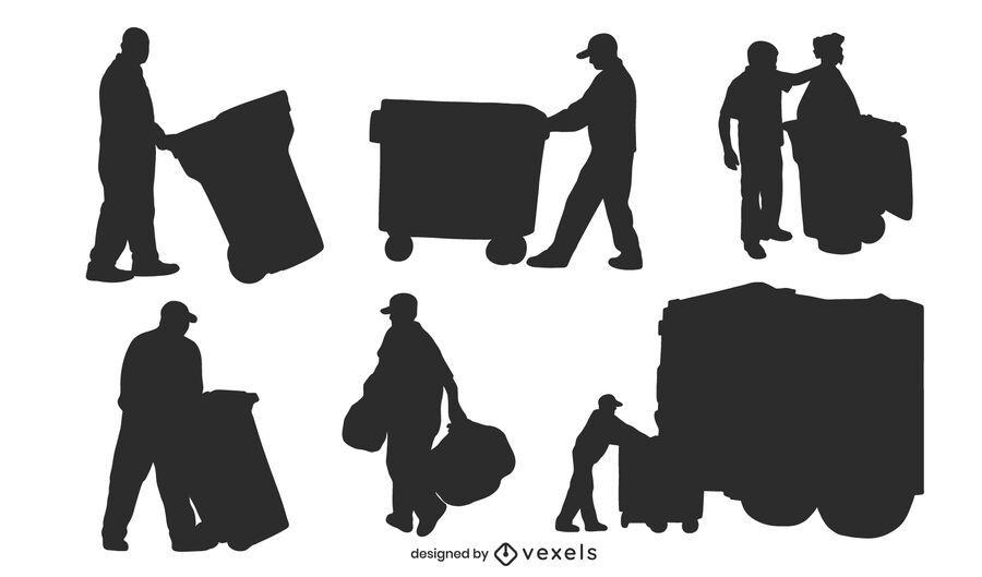 Garbageman silhouette set