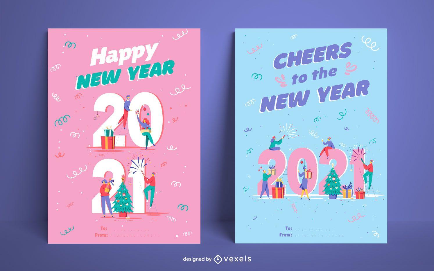 New year 2021 card set