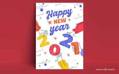 Diseño de tarjeta de año nuevo 2021