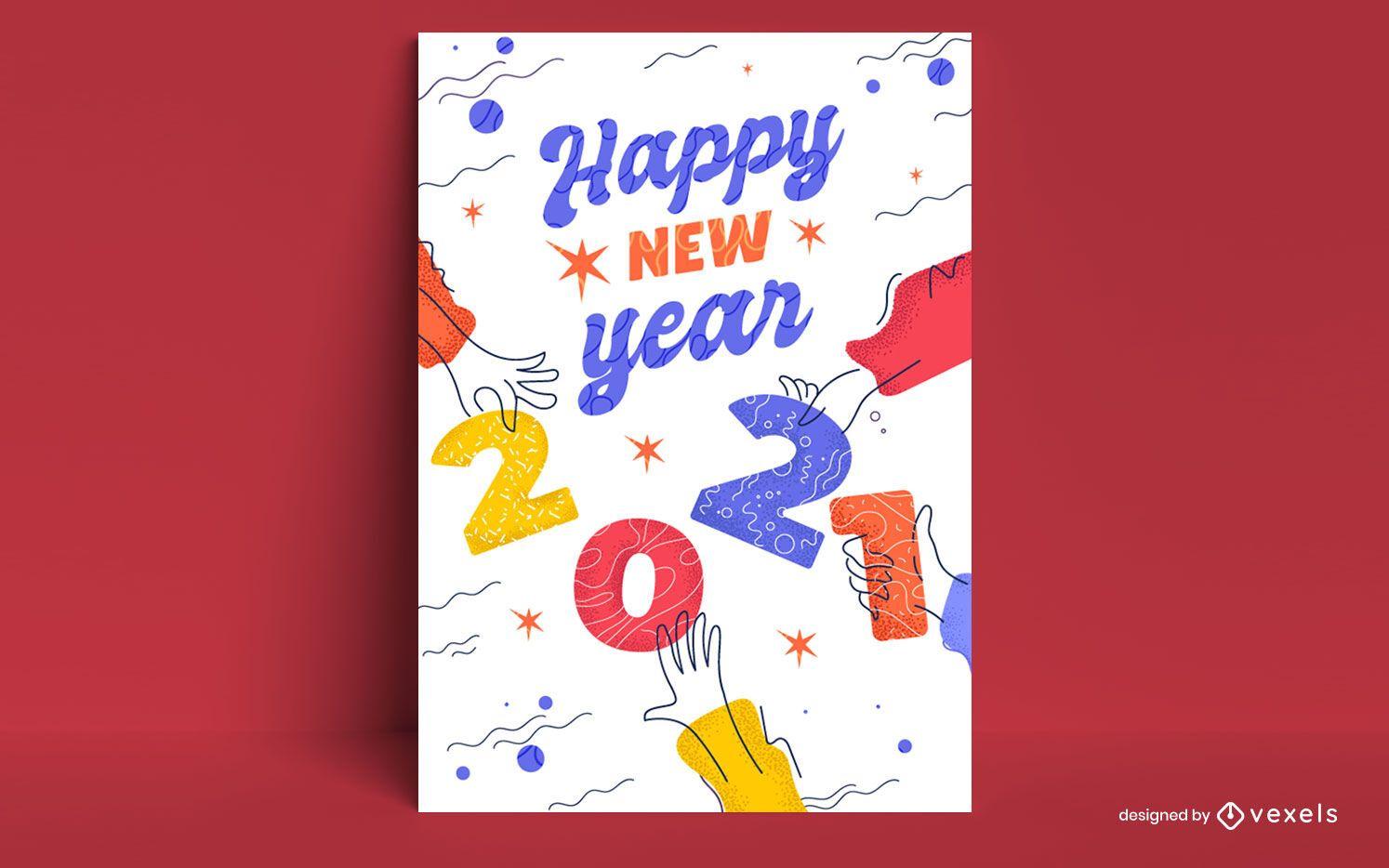 New year 2021 card design