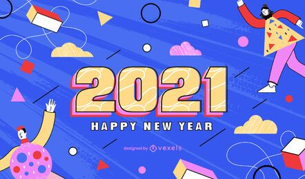 Desenho de fundo de ano novo 2021