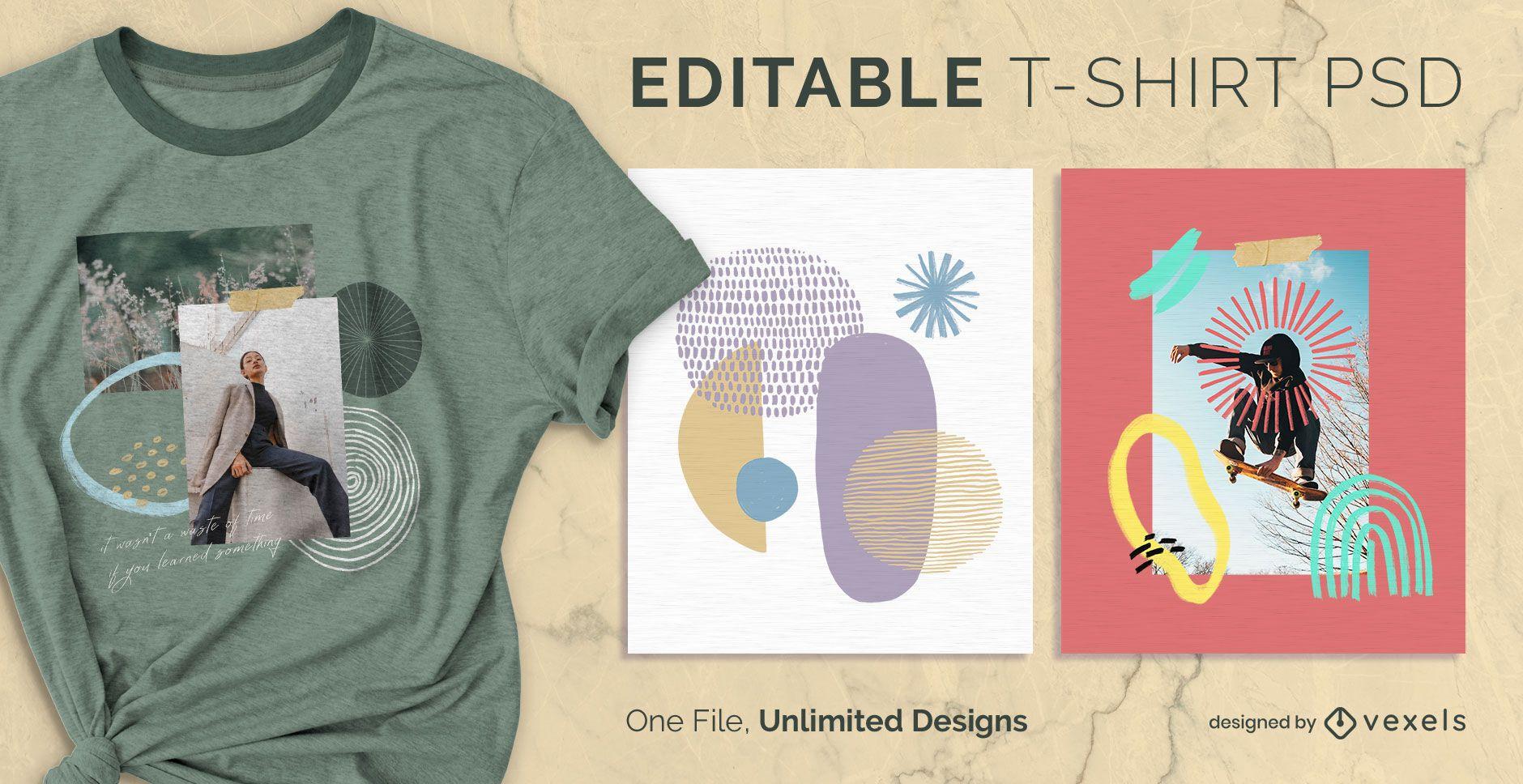 Camiseta escalable doodle abstracto psd
