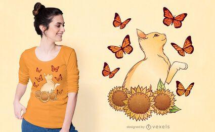 Diseño de camiseta de gato girasoles.