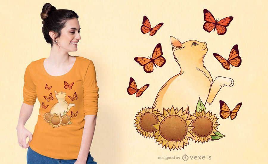 Design de t-shirt de gato girassóis