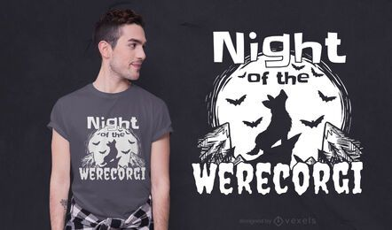 Diseño de camiseta Werecorgi Night