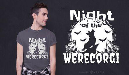 Diseño de camiseta Werecorgi Night