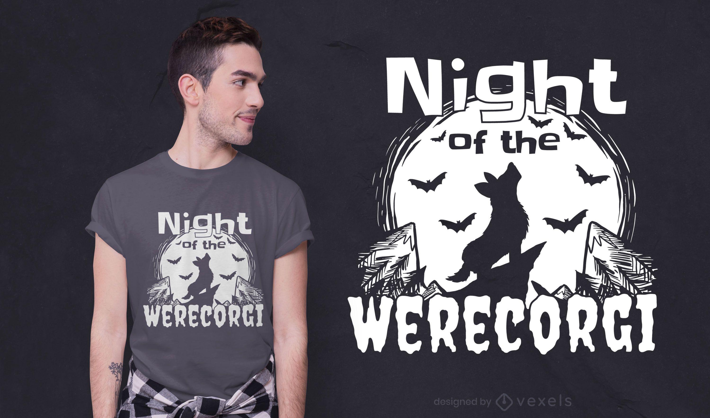 Design de camiseta noturna Werecorgi
