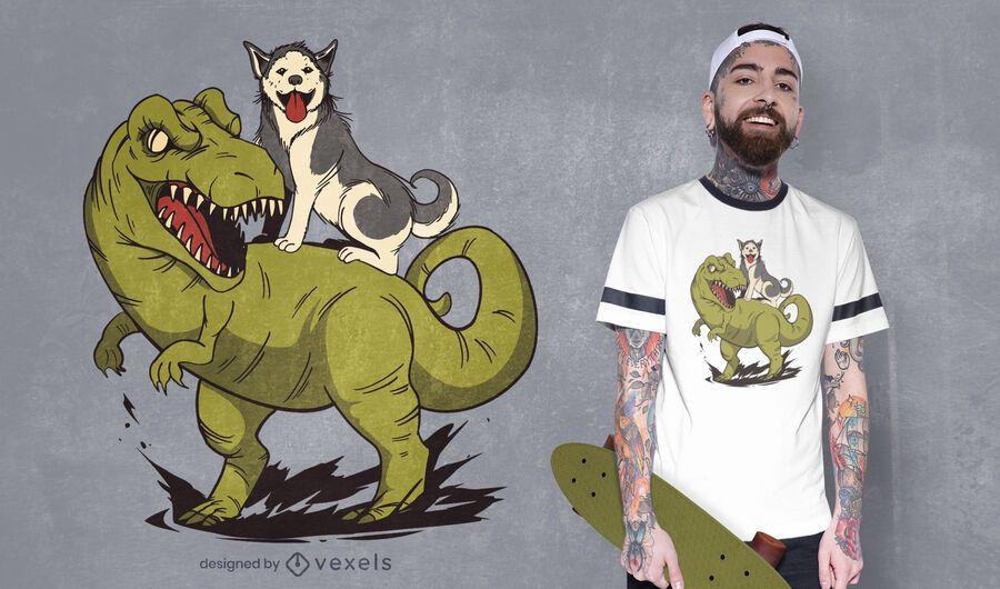 Diseño de camiseta de dinosaurio montando husky.
