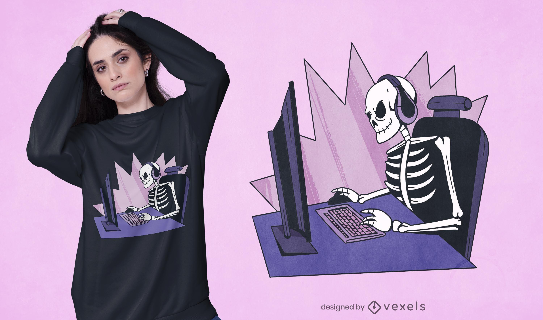 Gamer skeleton t-shirt design