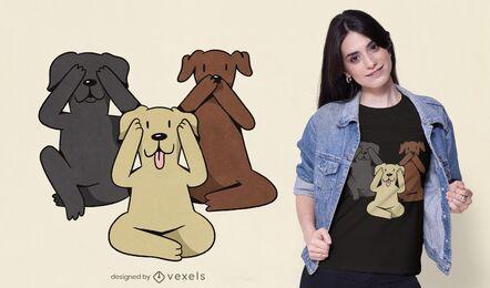 Diseño de camiseta de tres perros sabios.